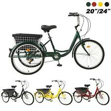 """Pro 20""""/24""""/26"""" Adult 7-Speed Tricycle 3 Wheels Trike Bicycle W/ Shopping Basket"""