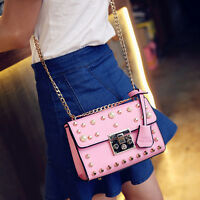 Women Fashion Bead Pearl Shoulder Satchel Messenger Cross Body Flap Bag Handbag