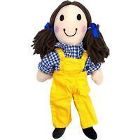 Vintage Play School Jemima Plush Toy Rag Doll Yellow Overalls ABC Kidz Biz 1996