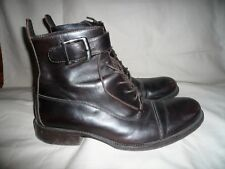 Kenneth Cole Dark Brown Leather Cap Toe Ankle Strap Boots,Uk 9