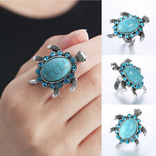 Retro Charm Sea Turtle Tibetan Silver Turquoise Ring Adjustable V.G Jewellery