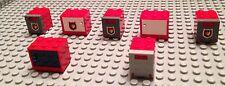 7 Lego Boxes & Crates / Red Firemen  / City Rescue / Storage / Box / 7X