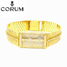 NYJEWEL Corum Golden Bridge 18K Gold 4ct Diamond Skeleton Bracelet Wrist Watch