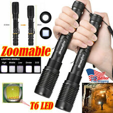 2x Zoomable 90000LM Police High Power T6 LED Flashlight Lamp Torch Light