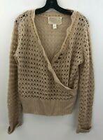 Nick & Mo Anthropologie Sweater Womens Medium Tan Beige Crochet Faux Wrap B46-04
