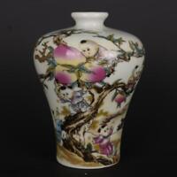 "Chinese Famille Rose Porcelain Qing Tongzhi Kid Pick Peaches Pattern Vase 5.9"""