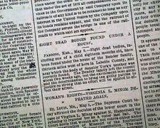 BLOODY BENDERS Cherry Vale KS Kansas Murders Corpses DISCOVERY 1873 Newspaper
