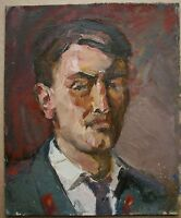 Russian Ukrainian Soviet Oil Painting realism male Portrait man militiaman