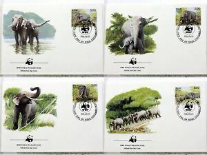 1986 Sri Lanka Wild Elephant Elephas Animals Wild Wwf 4 Covers FDC 1