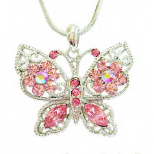 Enchanted Garden Butterfly Necklace Whitegold Plate & Pixie Pink Crystals