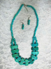 NEW BRIGHT TURQUOISE TEAL BLUE STAINED WOODEN BEADED NECKLACE & EARRINGS SET
