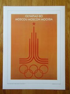 1896-1996 Olympiad SUMMER OLYMPIC GAMES 1980 MOSCOW Commemorative Poster