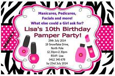 1 x PAMPER SPA PARTY GIRLS BIRTHDAY PERSONALISED CHILDRENS INVITATIONS + MAGNETS