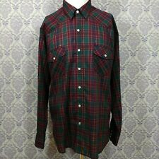 Timber Run Mens Western Plaid Pearl Snap Button Front Shirt Size L Rockabilly