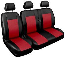 Van seat covers comfort fit Volkswagen Transporter T5 leatherette black - red