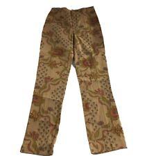 Womyn Womens Pants Size 2 Brown Green  Floral Print Stretch Boho Straight Leg