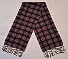 VINTAGE PLAID & CHECK PURPLE GRAY CASHMERE BLEND LONG MEN'S FRINGE SCARF