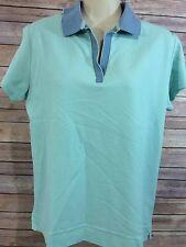 SPORT HALEY Green Blue Pima Cotton Short Sleeve Athletic Polo Shirt Womens Sz M