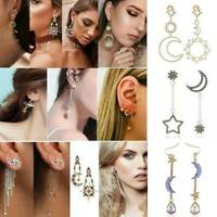 Boho Women Asymmetrical Star Moon Sun Leaf Drop Dangle Ear Stud Earrings Jewelry
