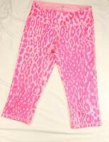 Z By Zella Hot Pink Leopard Print Crop Capri Animal Yoga Pants Size S Small Wome