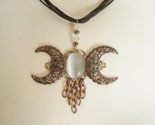 Copper Triple Moon Necklace, wiccan pagan wicca goddess witch witchcraft magick