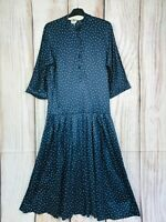 Vintage Laura Ashley Navy Polka Dot Autumn Day Dress Made in Gt Britain Size 12