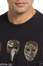 Robert Graham Cool Black Carnival Mask Screenprint 2XL Mens TShirt Cotton NEW