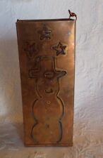 "Snowman Candle Holder Copper Star 9"" Tall"