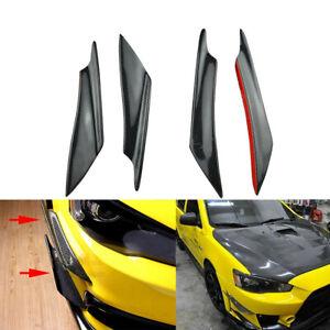 4x CarbonFiber Bumper Spoiler Blade Wind Blade Canards Diffuser Lip Splitter Fin