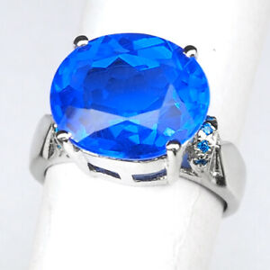 TOPAZ SWISS BLUE OVAL 6.20 CT. APATITE 925 STERLING SILVER RING SIZE 5.25 GIFT