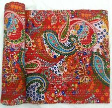 Handmade Red Paisley Queen Kantha Quilt Bohemian Bedding Bedspread Large Quilts