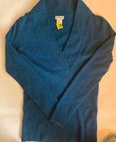 J CREW 100% CASHMERE Women's XS BLUE Long Sleeve DEEP V Collar Sweater
