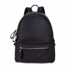 Frauen Leder Rucksack Mädchen Schule Reisetasche Damentasche Handtasche Schwarz