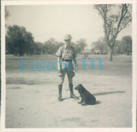 WW2 15th Punjab Regiment officer with his dog India 1940