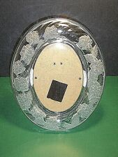 """Crystal Glass Signatures Japan Oval Frosted Flowers Picture Frame 4.75"""" x 7"""""""