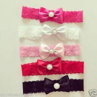 Satin Bow with pearl | Lace Band Newborn Toddler Baby Headbands christening lot