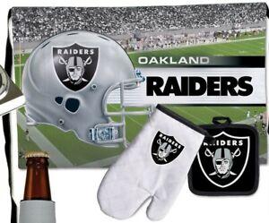Oakland Raiders Apron Pot Holder Oven mitt 3 Piece Tailgate Set