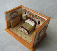 1/144 Scale Roombox*Bedroom w/ Furniture*OOAK*Artist made*roses*furnished*floral