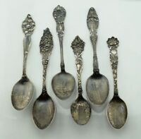 Antique Sterling Silver Lot of 6 Art Nouveau Floral Souvenir Spoons