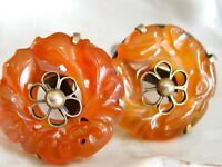 ANTIQUE MEIJI CHINESE EXPORT CARVED CARNELIAN DONUT DISK STERLING 925 EARRINGS