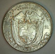1933 Silver Panama Diez 10 Centesimos Coin 10 Cent Dime UNC