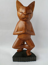 Hand Carved Yoga Cat Ornament - One Leg