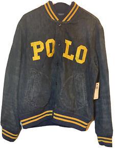 New $328 Polo Ralph Lauren St. Andrews Denim Varsity Baseball Men's Jacket SZ L