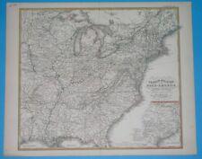 1874 ORIGINAL MAP UNITED STATES TEXAS VIRGINIA NEW YORK ARKANSAS ILLINOIS IOWA