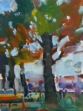 JOSE TRUJILLO - Original OIL PAINTING MODERN Fauvism Expressionism Park Trees
