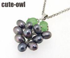 "Genuine Black Grape Drop Pearl Pendant  Necklace 17""AAA+"