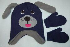 Toddler BOYS KNIT ANIMAL Hat & Mittens Blue Gray PUPPY DOG