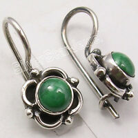 """925 Pure Silver Rare MALACHITE GIRLS' Earrings 3/4"""" ANTIQUE STYLE JEWELRY"""