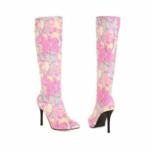 Womens Floral Print Pointed Toe Stiletto Heels Knee High Boots Party Shoes Size