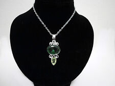 Emerald Green Silver Filigree Crystal Elvish Medieval Victorian Pendant Necklace